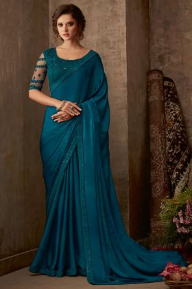 Embroidery Work Teal Color Sunshine Silk Party Wear Saree