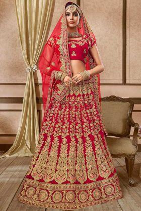 Embroidery Work Velvet Bridal Lehenga Choli Red Color