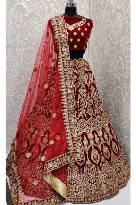 Embroidery Work Velvet Maroon Lehenga Choli For Bride