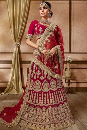 Embroidery Work Velvet Wedding Bridal Lehenga Choli Maroon Color
