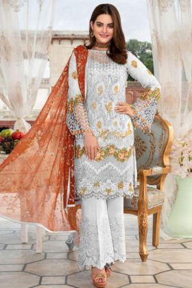 Embroidery Work White Color Heavy Net Pakistani Salwar Kameez