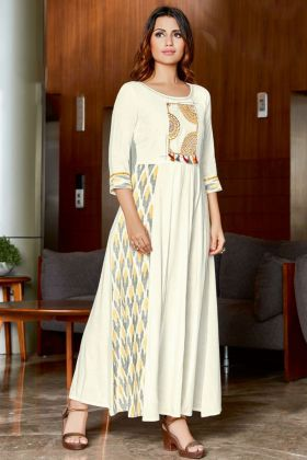 Embroidery Work White Color Rayon Slub Party Wear Kurti