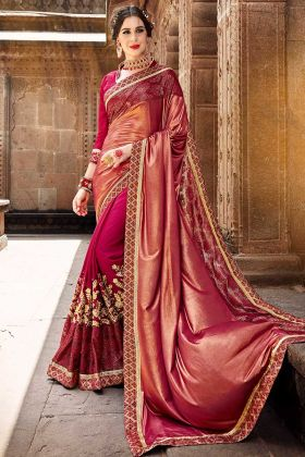 Embroidery Work With Fancy Fabric Maroon Saree