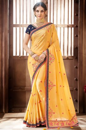 Embroidery Work Yellow Color Chiffon Party Wear Saree