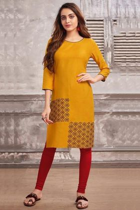 Embroidery Work Yellow Color Cotton Kurti