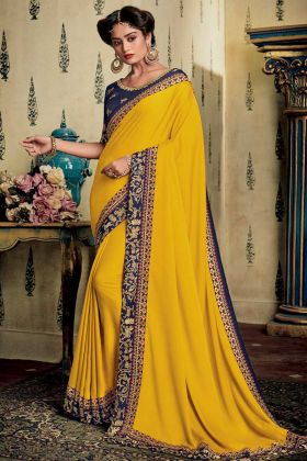 Embroidery Work Yellow Color Fancy Fabric Saree