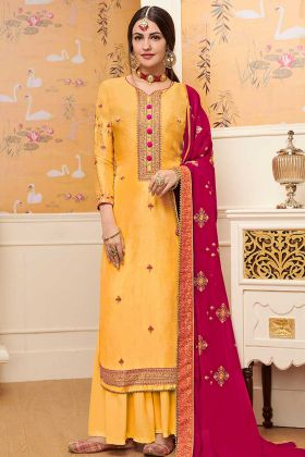 Embroidery Work Yellow Color Pure Viscose Upada Palazzo Dress