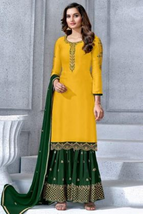 Embroidery Work Yellow Color Satin Georgette Sharara Salwar Suit