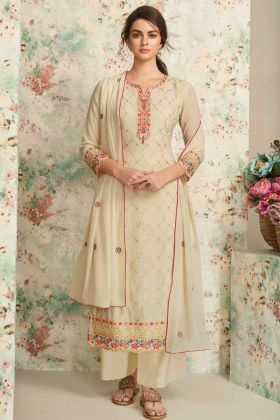 Embroidred Cream Festive Wear Real Georgette Plazzo Suit