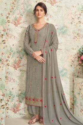 Embroidred Grey Festive Wear Real Georgette Plazzo Suit