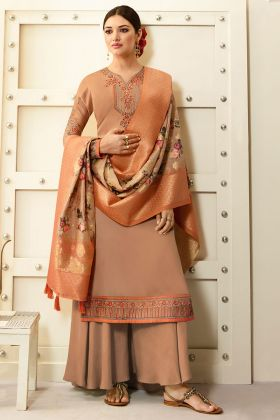 Embroidred Beige Designer Party Wear Satin Georgette Plazzo Suits