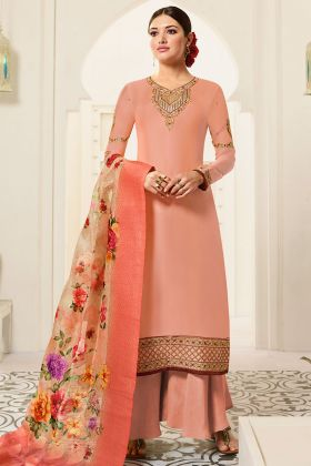 Embroidred Designer Party Wear Satin Georgette Plazzo Suits Peach Color
