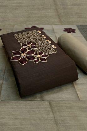 Engrossing Coffee Brown Colored Fancy Designer Slub Cotton Dress Material