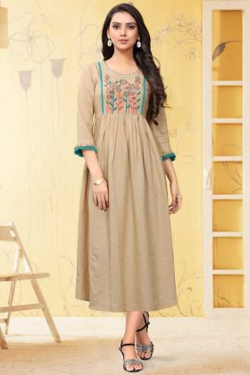 Ethnic Wear Beige Color Linen Readymade Long Party Wear Kurti