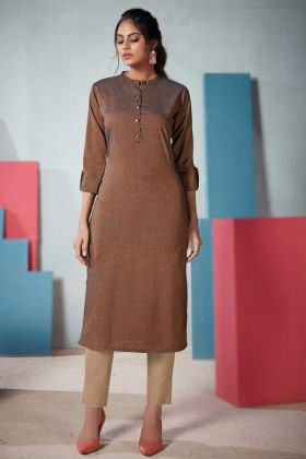 Ethnic Wear Brown Two Tone Rayon Readymade Kurti