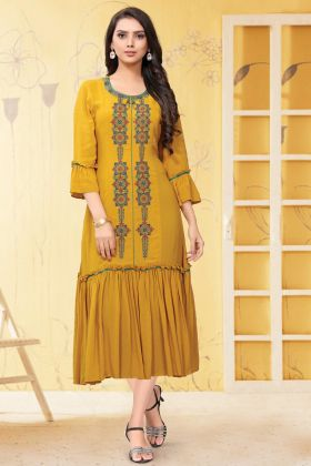 Ethnic Wear Musturd Yellow Georgette Readymade Long Party Wear Kurti