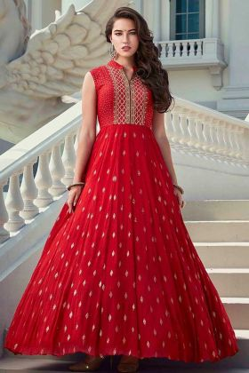 Ethnic Wear Red Color Sleeveless Long Heavy Faux Georgette Gown
