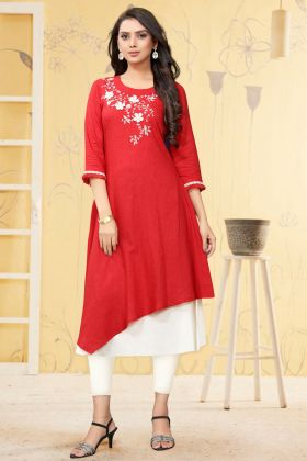Ethnic Wear Red Linen Thread Embroidery Work Kurti
