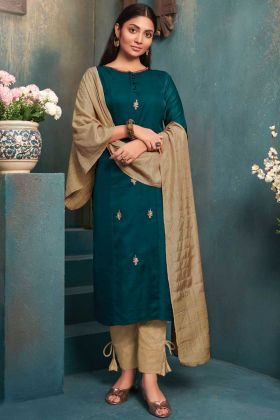 Ethnic Wear Teal Blue Color Silk Fabric Stitched Kurti