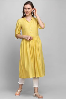 Ethnic Wear Yellow Color Rayon Readymade Kurti