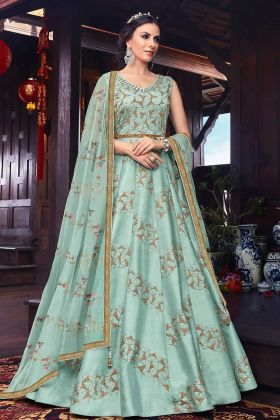 Ethnic Art Silk Partywear Anarkali Suit Aquva Blue With Net Dupatta