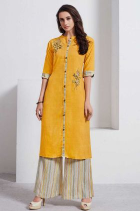 Ethnic Ready to Wear Lafer Linen Fancy Kurti With Stone Work Muastard Color