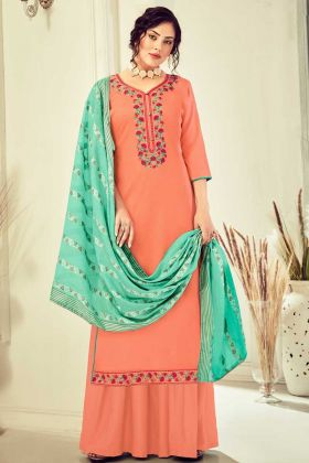 Excellent Embroidered Cotton Peach Salwar Suit