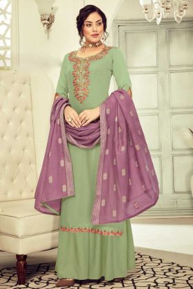 Excellent Embroidered Cotton Sage Salwar Suit