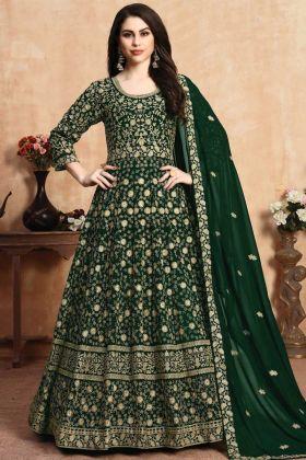 Excellent Green Faux Georgette Anarkali Suit