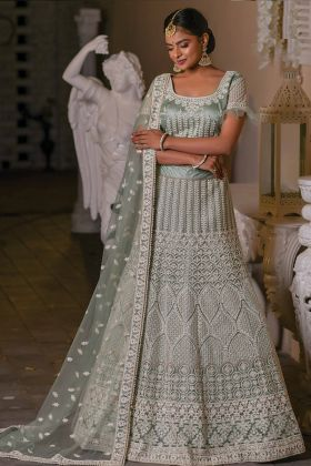 Excellent Grey Color Wedding Wear Lehenga Choli In Net Fabric