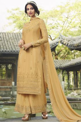 Excellent Jari Embroidered Chinon Occure Yellow Salwar Suit