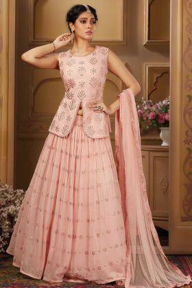 Excellent Light Pink Aadhala Work Lehenga Choli For Festival Wear