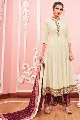 Excellent Off White Maslin Anarkali Salwar Suit