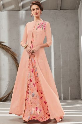 Excellent Peach Color Poly Organdy Gown Online