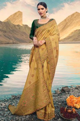 Excellent Yellow Color Raw Silk Saree