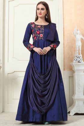 Excellent Navy Blue Color Taffeta Silk Gown