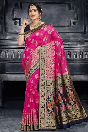 Excellent Pink Color Traditional Silk Saree Design