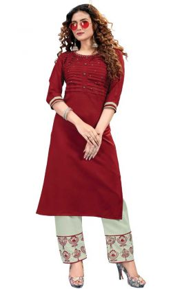 Exclusive Classy Ruby Cotton Kurti Pant In Maroon Color