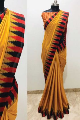Exclusive Collection Of Yellow Color Printed Silk Saree