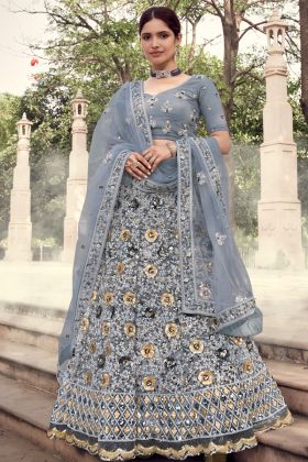 Exclusive Heavy Designer Soft Net Grey Colored Lehenga Choli Collection