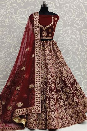 Exclusive Maroon Color Embroidered Bridal Lehenga In Velvet Fabric