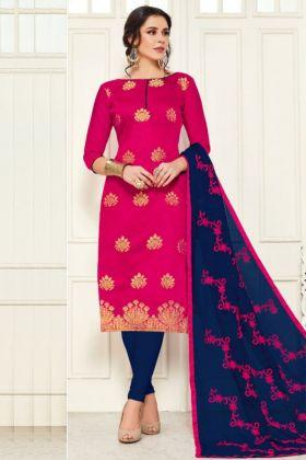 Exclusive Pink Color Banarasi Silk Ladies Dress Material Of Salwar Kameez