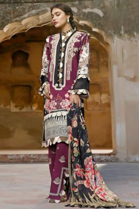 Exclusive Purple Color Pure Cotton Muslin Salwar Suit For Eid