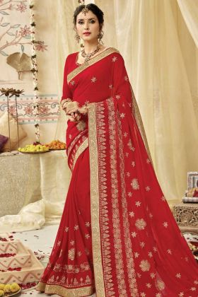 Exclusive Red Party Wear Georgette Saree