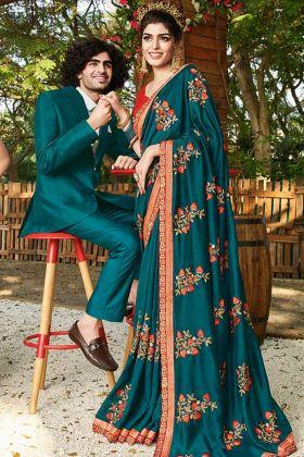 Exclusive Art Silk Teal Blue Designer Saree