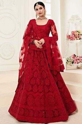 Exclusive Bridal Lehenga Net And Silk Fabric With Two Layer Inner