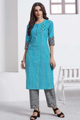 Exclusive Collection Cotton Weaving Designer Kurties With Palazzo Set Grey Color