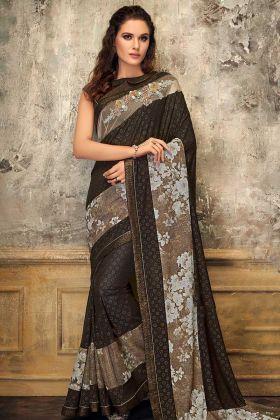 Exclusive Fancy Lycra Saree Brown Color