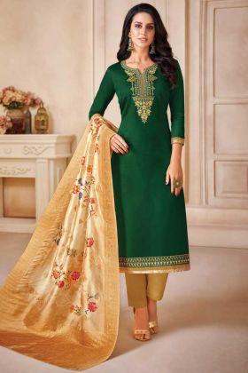 Execellent Jam Satin Silk Green Color Salwar Suit
