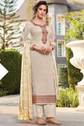 Execellent Off White Color Tussar Art Silk Salwar Suit